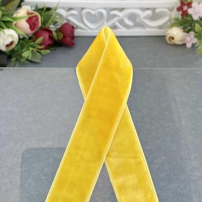 Лента бархатная 25 мм, желтая