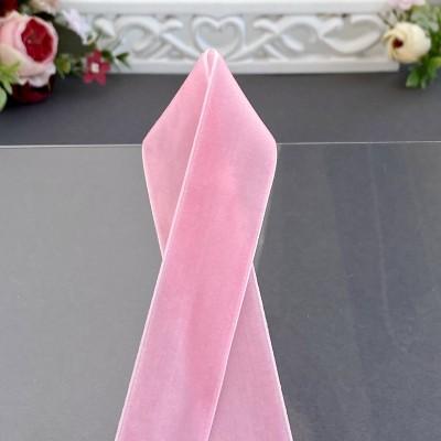Лента бархатная 25 мм, розовая (36)