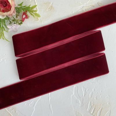 Бархатная лента 4 см, бордовый