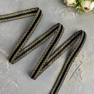 Декоративная бархатная лента 15 мм, черный/золото