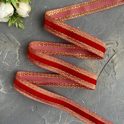 Декоративная бархатная лента 25 мм, светло-красный/золото
