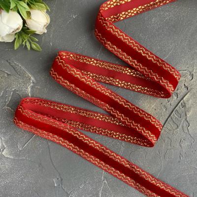 Декоративная бархатная лента 25 мм, ярко-красный/золото