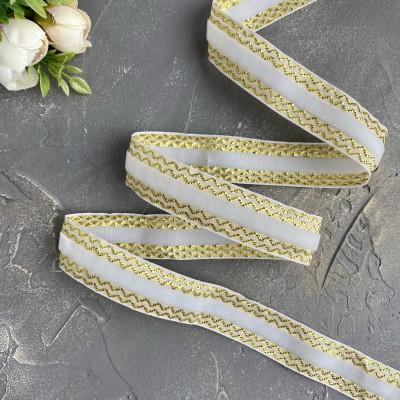 Декоративная бархатная лента 25 мм, белый/золото
