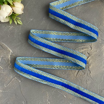 Декоративная бархатная лента 25 мм, синий/золото