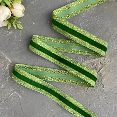 Декоративная бархатная лента 25 мм, зеленый/золото