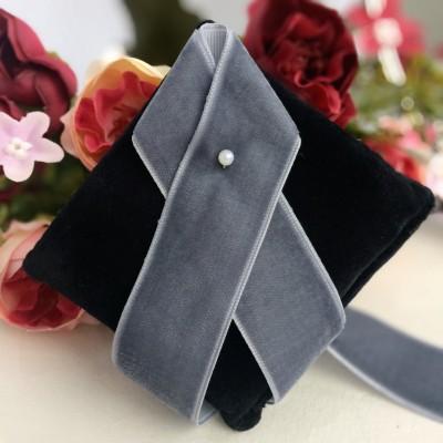 Лента бархатная 25 мм, темно-серый