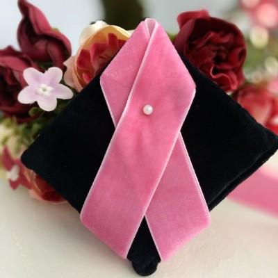 Лента бархатная 25 мм, розовая пенка