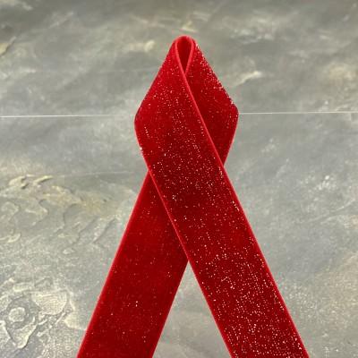 Лента бархатная с люрексом 2,5 см, красный