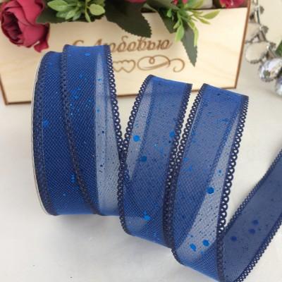 Лента с блестками и пайетками 2,5 см, темно-синий