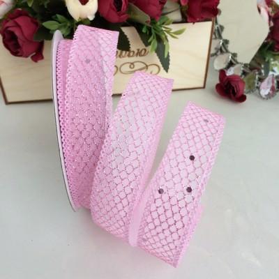 Лента с сеточкой и блестками 2,5 см, розовая