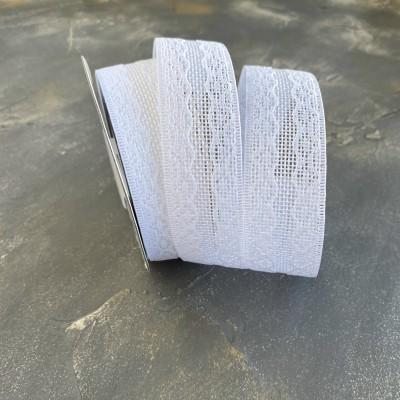 Лента из мешковины с кружевом, белый
