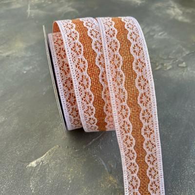 Лента из мешковины с кружевом, оранжевый