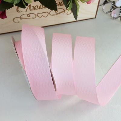 """Лента декоративная 2,5 см """"Ромбики"""", розовый"""