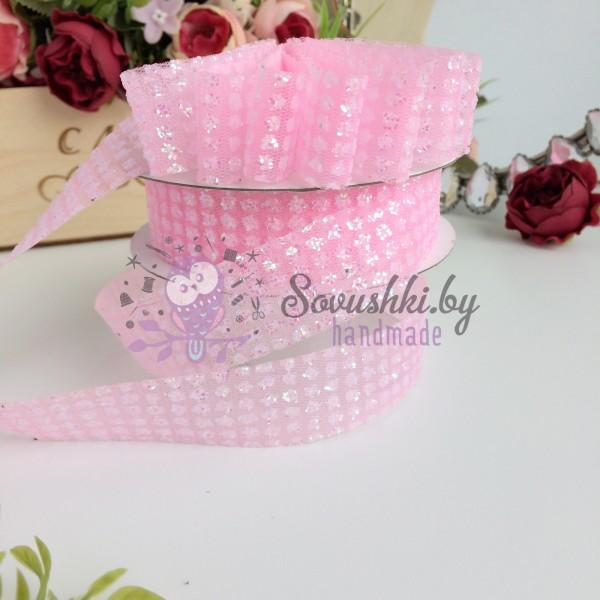 Лента с блестками 2,5 см, розовый