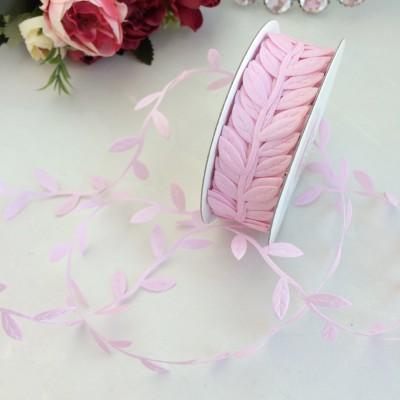 "Лента декоративная 2,5 см ""Листочки"", розовый"