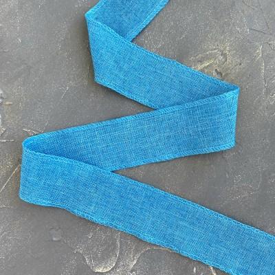 Лента декоративная холщевая, голубой