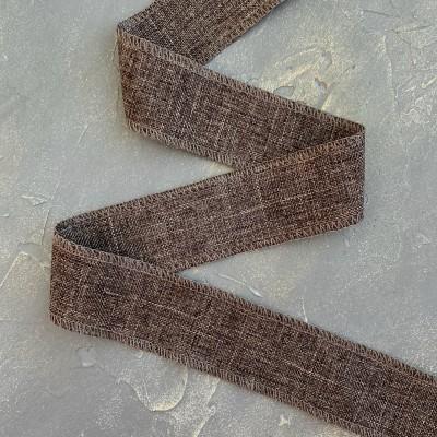 Лента декоративная холщевая, коричневый