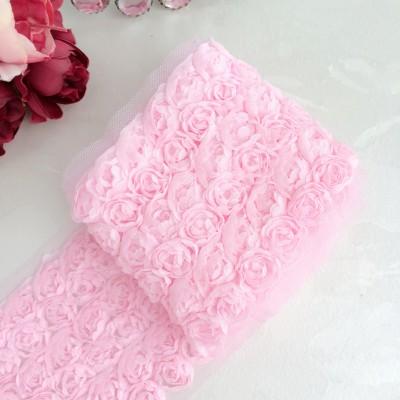 3D Лента с розами, розовый