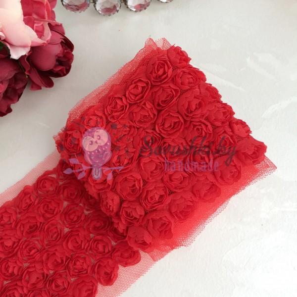 3D Лента с розами, красный