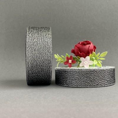 Лента парча черный/серебро