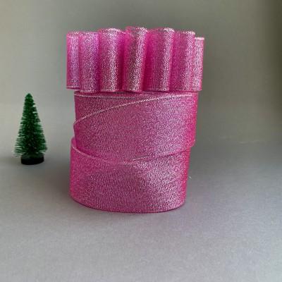 Лента парча ярко-розовый/серебро