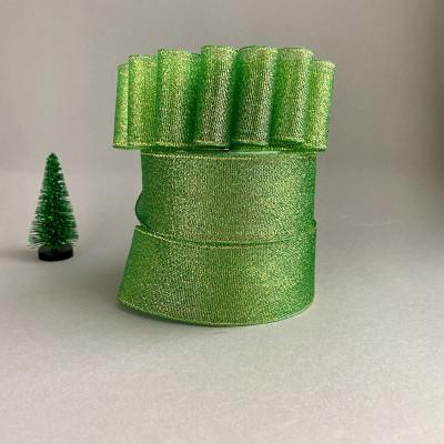 Лента парча зеленый/золото