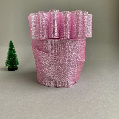 Лента парча светло-розовый/серебро