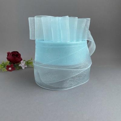 Лента органза 4 см, голубой