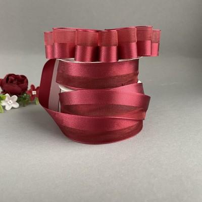 Лента органза с атласной вставкой 25 мм, бордовый