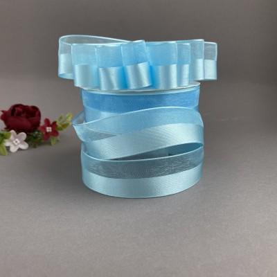 Лента органза с атласной вставкой 25 мм, голубой