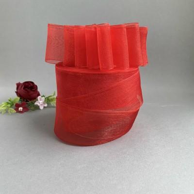 Лента органза 4 см, красный