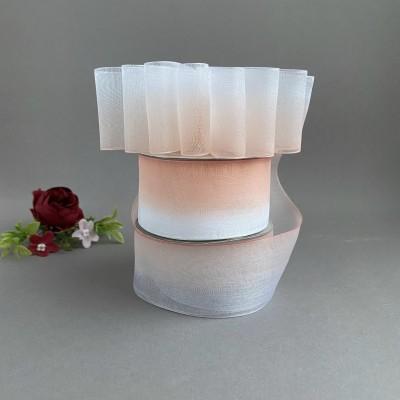 Лента органза 4 см градиент, белый/персиковый