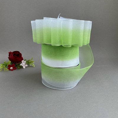 Лента органза 4 см градиент, белый/зеленый