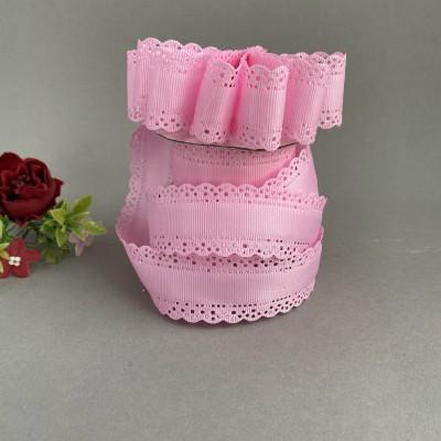 Лента репсовая с ажурными краями 3 см, розовый (93)
