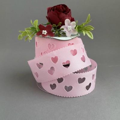 """Лента репсовая с перфорацией """"Сердечки"""" 3,5 см, розовый"""