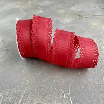 Лента репсовая с ажурными краями 3 см, бордовый (37)