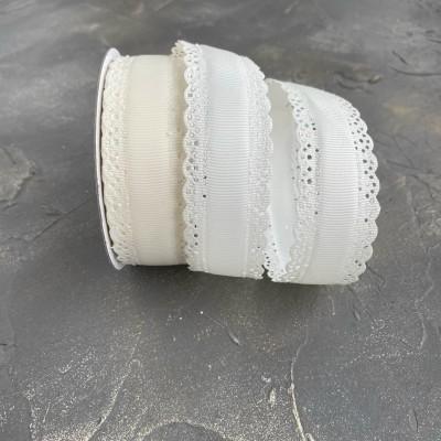 Лента репсовая с ажурными краями 3 см, кремовый (08)