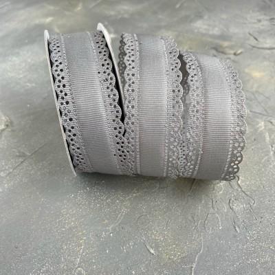 Лента репсовая с ажурными краями 3 см, серый (180)