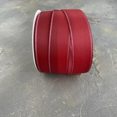 Лента репсовая с люрексом 25 мм, бордовый (37)