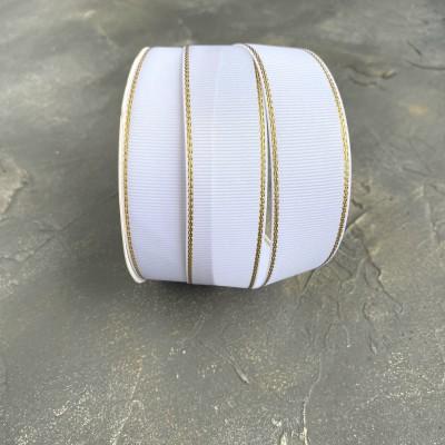 Лента репсовая с люрексом 25 мм, белый/золото