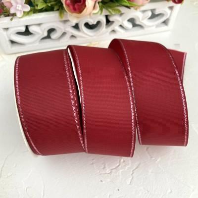 Лента репсовая с люрексом 4 см, бордовый