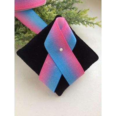 """Лента репсовая 25 мм """"Градиент с блестками"""", голубой/розовый"""