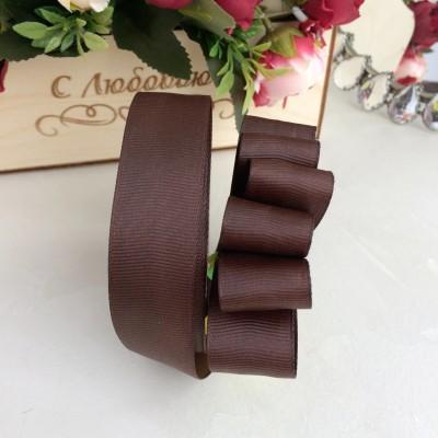 Лента репсовая 25 мм, шоколадный