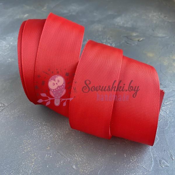 Лента репсовая 4 см, ярко-красный