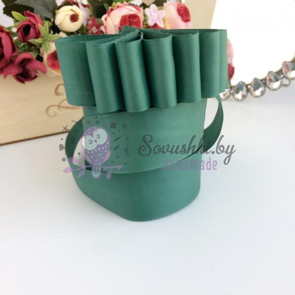 Лента репсовая 4 см, темно-зеленый
