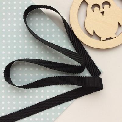 Лента репсовая с волнистым краем, черная