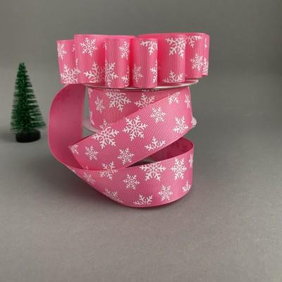 """Репсовая лента 25 мм """"Снежинки"""", розовый"""