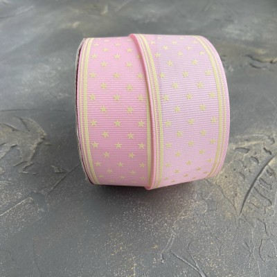 """Репсовая лента 4 см """"Звездочки"""", розовый"""