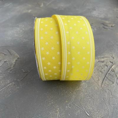 """Репсовая лента 4 см """"Звездочки"""", желтый"""