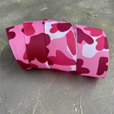 """Репсовая лента 4 см с рисунком """"Камуфляж"""", розовый"""